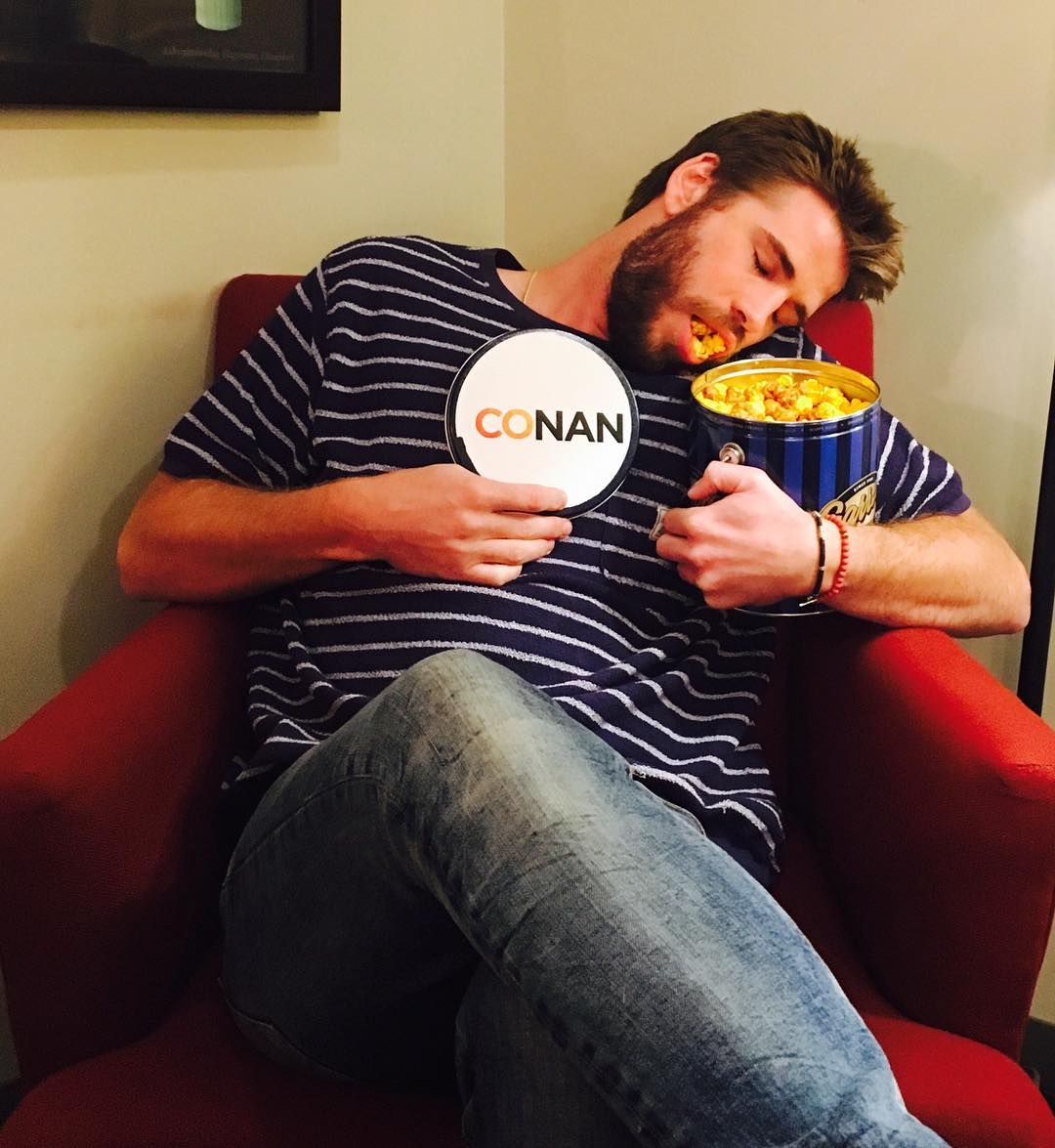 Liam Hemsworth Eating Vegan Food